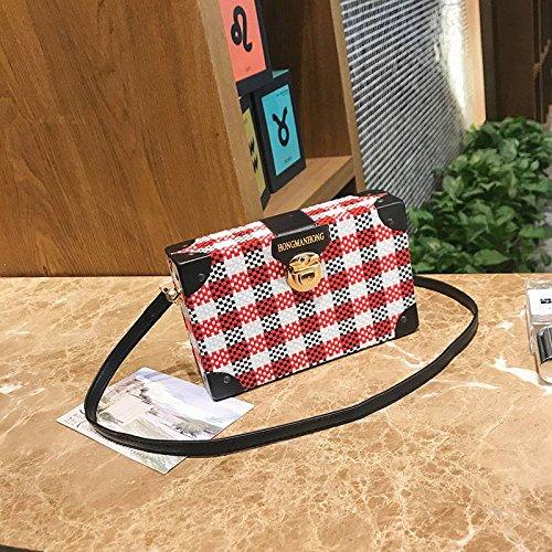 Preisvergleich Produktbild YTTY Es Wird Erwartet, Dass Eine Kleine Quadratische Gitterbox Tasche Wilde Schulter Diagonal Paket, Rot-Weiss