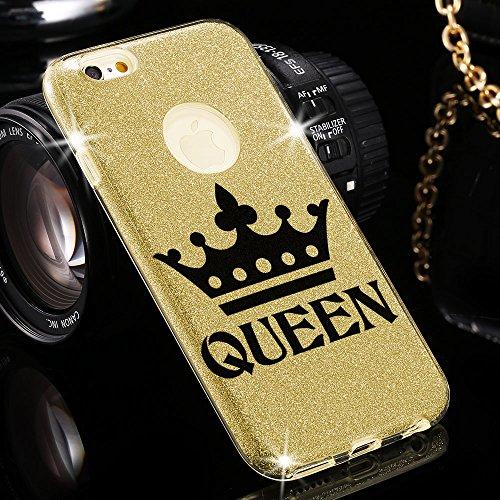 Astuccio di design + braccialetto - cavo USB per telefono iPhone 7 con broccato splendente. Lussuoso case in silicone brillante queen doro queen doro + Cavo USB