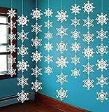 ABREOME Schneeflocken Girlande für Weihnachten Deko,Zuhause Weihnachtsfeiertag Party Dekorationen Schneehänger, Weiß (8 Stück)