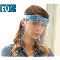 Fredo® Gesichtsschutz Plexiglas - Visier aus Kunststoff - Face Shield - transparentes Gesichts Schutzschild mit verstellbarem Gummiband für Männer Frauen - Blau - Made in Europe