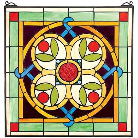 Design Toscano Celtic Floral Quatrefoil vetrata, Multicolore