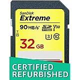 SanDisk Extreme 32 GB SDHC Speicherkarte bis zu 90MB/Sek, Class 10, U3, V30 (Zertifiziert und Generalüberholt)