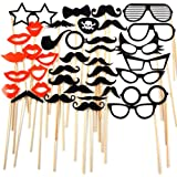 38pcs Wooden A Stick Photo Booth Props Wedding Party Birthday Fun