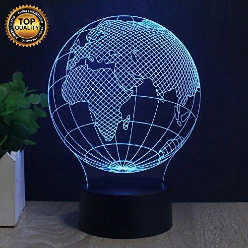 Europa Globus 3D-Effekt Illusionen LED-Lampen, FZAI erstaunliche 7 Farben ändern Touch-Taste Tisch Schreibtisch Nachtlicht mit 150cm USB-Kabel für Kinder Schlafzimmer Geburtstag Geschenke