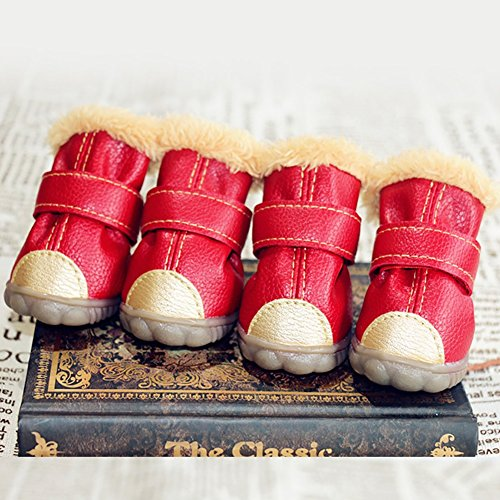 XiYunHan Pet Sneakers, Leder Skid Boot Baumwolle Winter Warm Oxford Boots 4 Stück Hund Stiefel 4 Farbe 5 Größe (Color : Red, Size : 4#)