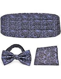 PenSee Set de pajarita, pañuelo cuadrado y fajín morado y marrón, de satén
