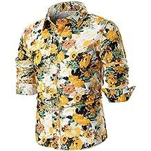 Camisas Hombre Manga Larga Camisa ZARLLE Camisa Casual para Hombre Slim Fit Camisas Modernos Flores Imprimir