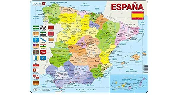 Map Of Spain Political.Larsen Puzzle K84 Spain Political Map Amazon Co Uk Toys Games