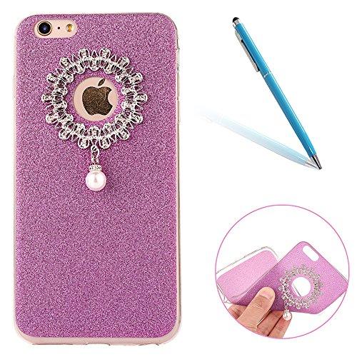 Clear Crystal Rubber Protettivo Case Skin per Apple iPhone 6/6s 4.7, CLTPY Moda Brillantini Glitter Sparkle Lustro Progettare Protezione Ultra Sottile Leggero Cover per iPhone 6,iPhone 6s + 1x Stilo  Viola 1