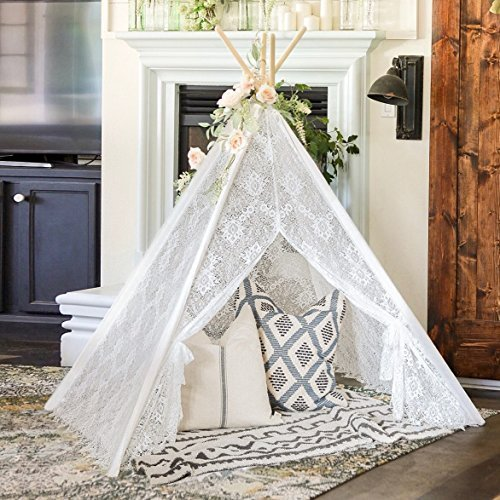 Tiny Land Teepee Tent for Kids Indoor Outdoor Children Play Tent, Boho Lace Tipi (150 cm Tall)
