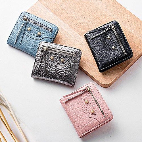 Artemis'Iris donne mini del raccoglitore della tasca compatto Genuine Leather Bifold Carte Denaro Cambio dell'organizzatore del supporto borsa corto, blu blue