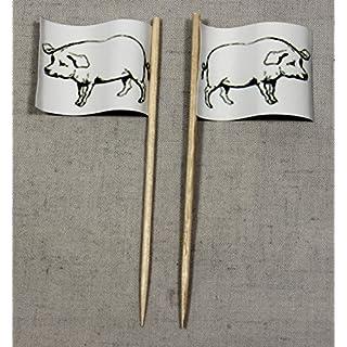 Party-Picker Flagge Schwein Schweinefleisch Papierfähnchen in Profiqualität 50 Stück Beutel Offsetdruck Riesenauswahl aus eigener Herstellung