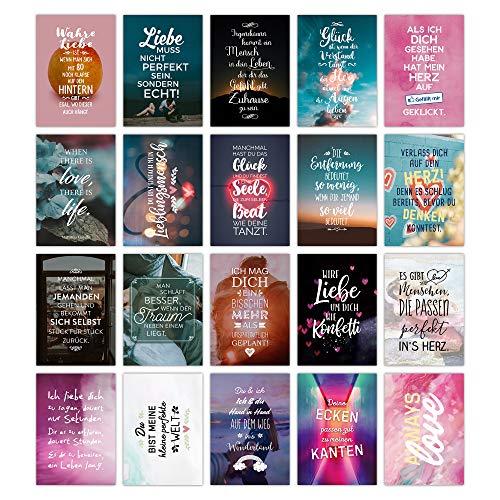 TypeStoff 20er Postkarten-Spar-Set - Liebe-Love - DIN A6, 20 Verschiedene Motive mit Sprüchen, Zitaten und Aphorismen DIN A6 (Liebe-Love)