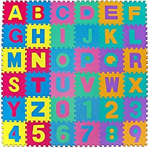 Dalton Manor Eva Foam Floor Mat Tiles X 36 Alphabet & 0-9 Numbers Interlocking Jigsaw Activity Playmat