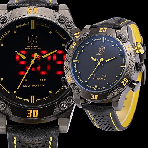Shark-Mens-LED-Date-Day-Alarm-Digital-Analog-Quartz-Sport-Black-Leather-Band-Wrist-Watch-SH263-Yellow