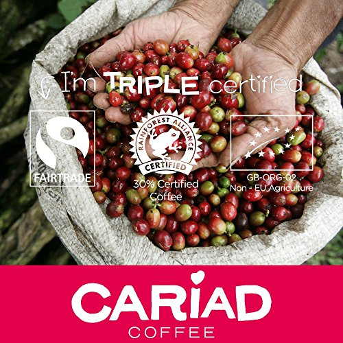 ♥ Ground Coffee 250g By Cariad Coffee ♥ ORGANIC, FAIRTRADE, RFA 100% ARABICA & Truly Delightful ♥ Our Medium Roast Coffee Blend of The Finest Arabica Coffee Ground from Central America, Ethiopia and Sumatra ♥ Love our Delicious Coffee or It's Free!