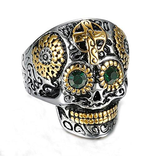 Anelli con diamanti a forma di anello in acciaio al titanio retrò da uomo punk,dimensione 33
