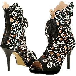 Schuhe mit hohen Absätzen Leder hohe Qualität Fisch mouth Womens Strass Perlen Peep Toe High Heels Pumps (23.1-23.5cm, Schwarz)