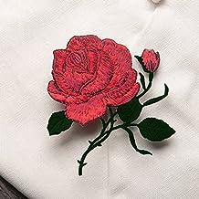 Rosas Flores Parche Bordado cuello para coser en parche insignia bolsa sombrero Jeans Vestido Busto Applique Craft