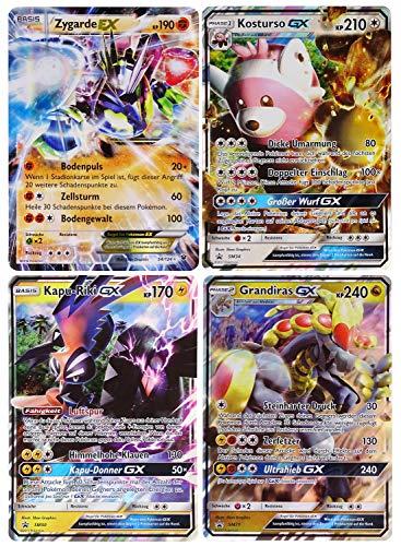 Unbekannt Pokemon XY04 Phantomkräfte Booster A0 Pokémon Maxicard Sonder-Pack : 4 x Große GX Karten ( Zygarde EX KP 190 , Kapu-Riki GX KO 170, Kosturso GX KP 210, grandira GX KP 204 )