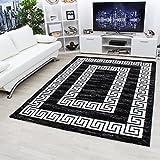 Carpetsale24 Teppiche modern designer für Wohnzimmerkurzflor Konturenschnitt Versace Muster mit Bordüre und Ornament meliert,modernen Farben mit Lurex wie Schwarz und Weiss_3120, Maße:200 cm x 290 cm