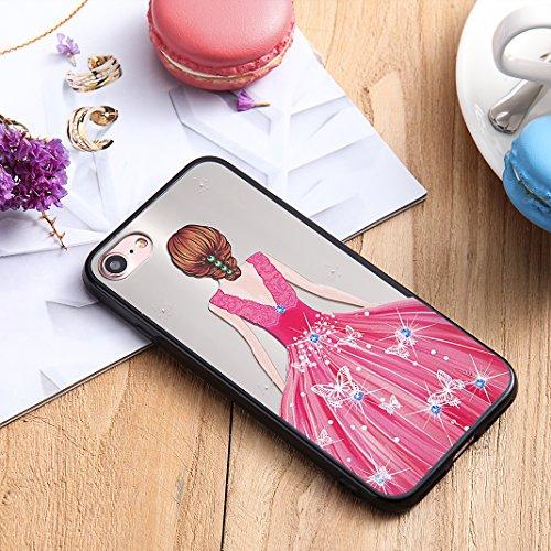 iPhone 7 Spiegel Hülle, Rosa Schleife Weiche TPU Silikon Schutzhülle Handyhülle Backcover Glitzer Mirror Cases mit Schmetterling schönes Mädchen Muster Design für iPhone 7 Lila Schmetterling Kleid Rosa Schmetterling Kleid
