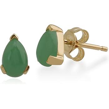 aea9a6ac4 Gemondo Women 375 Gold 9ct Yellow Gold Pear Jade Classic Claw Set Stud  Earrings Green 6.5x4mm