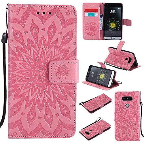 Für LG G5 Fall, Prägen Sonnenblume Magnetische Muster Premium Soft PU Leder Brieftasche Stand Case Cover mit Lanyard & Halter & Card Slots ( Color : Pink ) Pink
