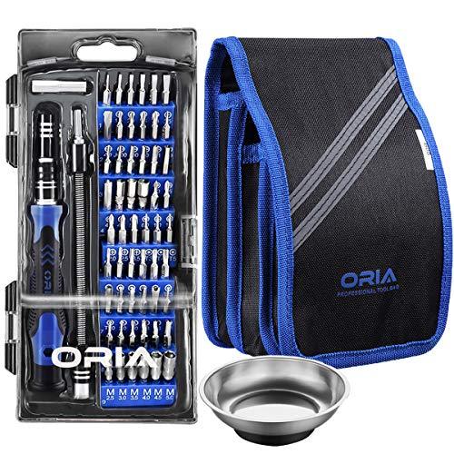 ORIA 80 in 1 Präzisions Schraubendreher Satz, Reparatur Werkzeug-Set mit 56 Bits, Magnetischer Feinmechaniker-Set für Smartphones, Tablets, PCs, Konsolen, Kameras, Uhren, Brillen & Modellbau