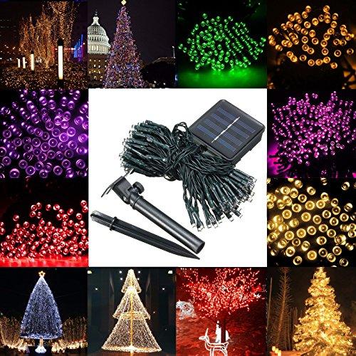 MASUNN Imperméable à l'eau solaire 12m 100LED String fée lumière Garden Party Noël Decor-jaune