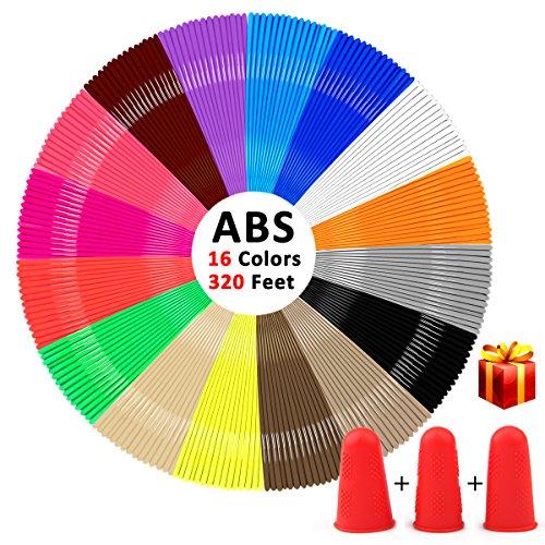 Filamento 3d , kungfuren 16 colori 1,75 millimetri abs 320 ft filamento per penna 3d prototipazione rapida della senza odore peculiare 20 piedi (6m) per ciascuno (nuovo)