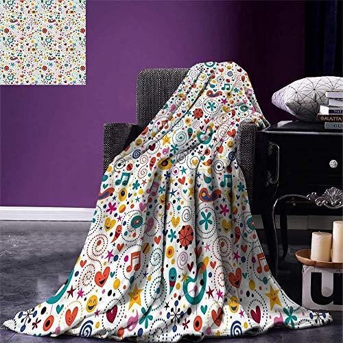 Kinder werfen Decke lächelndes Herz Sterne Punkte musikalische Anmerkungen glückliche Charaktere spielerisch fröhliche Zusammensetzung warme Microfiber Decke -