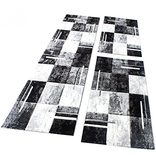Bettumrandung Teppich Marmor Optik Karo Schwarz Grau Weiss Läuferset 3 Tlg, Grösse:2mal 80x150 1mal 80x300