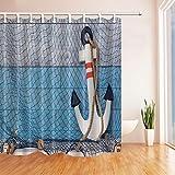 GoHEBE Nautische Anker Bad-Vorhang mit Seil, Holz-Boden Stoff Polyester Wasserdicht Duschvorhang für Badezimmer, 71x 71Duschvorhang Haken, Türkis