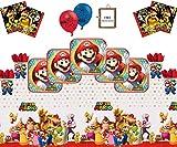 Mario Party Supplies Super Mario Bros Brothers Buon Compleanno stoviglie Confezione per 16- Lattice Palloncini Tovagliolo Tovagliolo Tovaglia Gratis Photo Frame