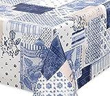 Premium Wachstuch LFGB Tischdecke für Garten und Küche, abwischbar, geprägt Patchwork blau-weiß, Größe wählbar (120 x 140 cm)
