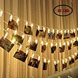 LED clip della foto luci della stringa 20 Foto Clip, perfetto per appendere foto, immagini, note, Quadri Card e memos - 2,2 metri / 7,2 piedi - 3 batterie AA Powered (bianco caldo)
