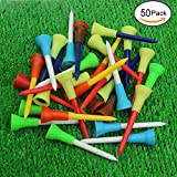"Kofull Rubber Cushion Top Golf Tees Professional 2-3/4 "" 50 Pack Random Color Golf Practicing For Golfer"