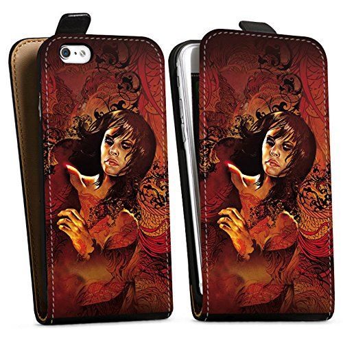Apple iPhone X Silikon Hülle Case Schutzhülle Frau Gesicht Drache Downflip Tasche schwarz