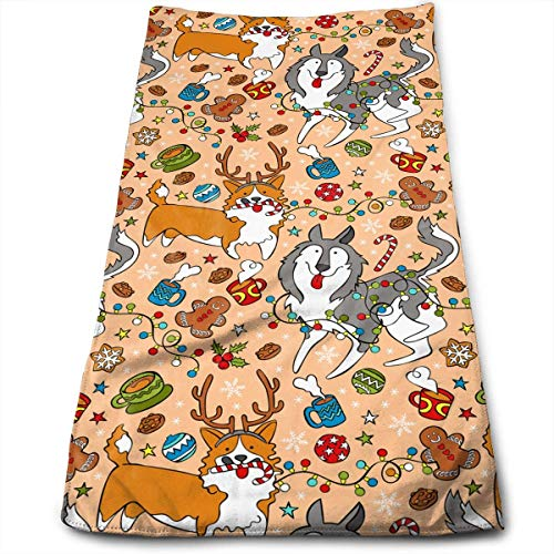 Husky Corgi Christmas Cookies Garland Super Soft Absorbent Sports/Beach/Shower/Pool Towel