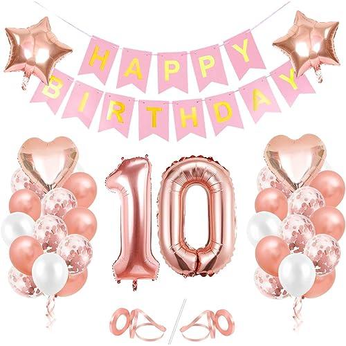 Palloncini 10 Anni Compleanno, Oro Rosa Palloncini 10, Buon Compleanno Banner, Palloncini 10 Anni Compleanno Ragazza,Happy Birthday 10 Anno,Palloncini Trasparenti Coriandoli Oro Rosa Decorazioni Festa