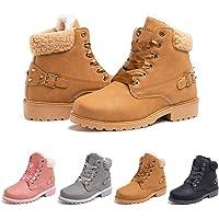 Stivali Invernali Donna Scarpe da Neve Stringati Pelliccia Caldo Snow Boots Caviglia Stivaletti Piatto Outdoor Stivali…