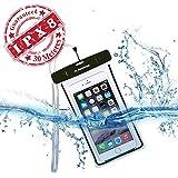Avantree Wasserdichte Handy Hülle Case [bis 30m Wassertiefe IPX Zertifiziert] durchsichtige Beutel Handytasche | Leuchtet im Dunkeln | bis 6 Zoll Bildschirmgröße | Universell für iPhone, Samsung, HTC und viele mehr - schwarz - Jellyfish