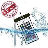 Avantree Wasserdichte Handy Hülle Case [bis 30m Wassertiefe IPX8 Zertifiziert], durchsichtige Beutel Handytasche, Leuchtet im Dunkeln | bis 6 Zoll Bildschirmgröße, Universell für iPhone, Samsung, Huawei und viele mehr - schwarz - Jellyfish