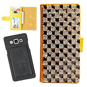 DooDa PU Leather Wallet Flip Case Cover With Patterned Rhinestone Glitters in Front And Card & ID Slots For Micromax Canvas 4+ A315