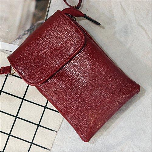 ZHANGJIA Handy - Tasche, die Tasche hängt am Hals, Schulter, Mini - Tasche, Ein Portemonnaie, Handy - Tasche,Bordeaux - Wein