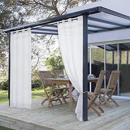 PONY DANCE Outdoor Sheer Tülle Vorhang Voile Panels für Terrasse Veranda Pavillon, 1PC 54