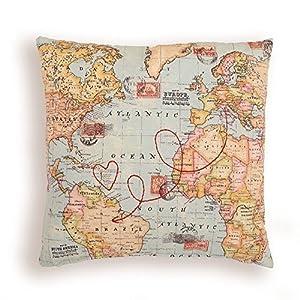 Cojín Postal mapamundi. Carta con mapa. Funda personalizada, bordado, ruta de viaje.