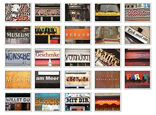 tom bäcker Postkarten Set/Konvolut - 24 Karten - Mix - ADVENTSKALENDER - Gutschein abgebildet - Liebe - Einladung - Reise - Kino - Hotel - Kultur - Theater - Wellness - Worte - Typografie
