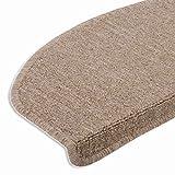casa pura® hochwertige Stufenmatten | attraktiver Stufenschutz für Ihre Treppe | Matten für rutschsichere Treppenaufgänge | 15 Stück | braun-beige
